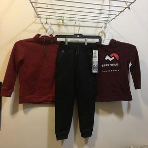 Size 5 boys LOT two sweatshirts and NWT sweatpants